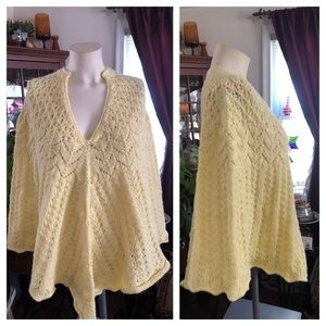 Vintage Butter Yellow Knit Poncho